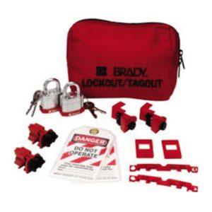Brady-Kit-Malote-para-Travamento-de-Disjuntor-com-Cartões-de-Travamento-e-Cadeados-de-Aço-JAV